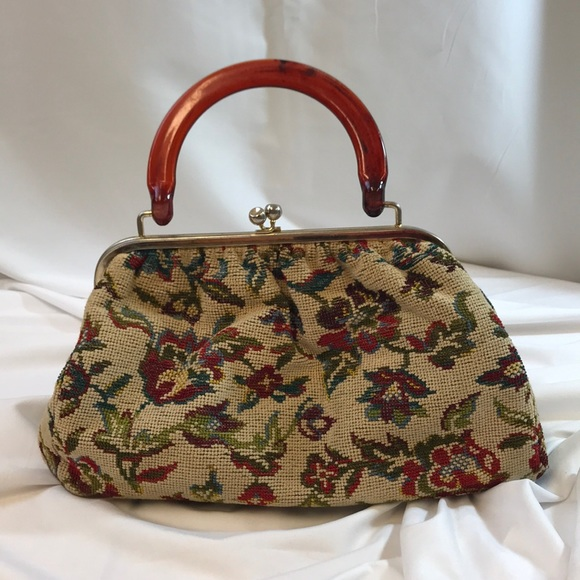 Bags   Vintage Needlepoint Handbag W Attached Coin Purse   Poshmark af2b8ad3a5
